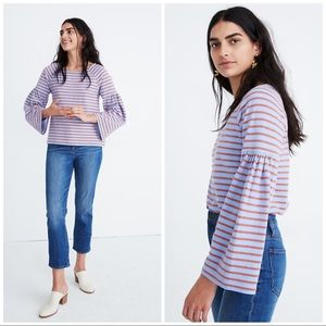 Madewell Striped Shirred Sleeve Sailor Top